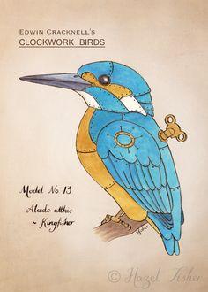 Hazel Fisher Creations: Clockwork Kingfisher - from sketchbook to finished illustration