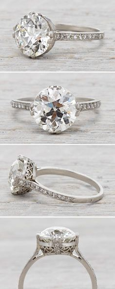 Art Deco vintage engagement ring with a 3.77 Carat Diamond Circa 1920