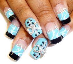 bows black tips by Pilar - Nail Art Gallery nailartgallery.nailsmag.com by Nails Magazine www.nailsmag.com #nailart