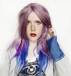 SALE Purple wig  Long Blue wig Wavy pastel wig  by MissVioletLace