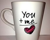 Personalized Love Ceramic latte Coffee mug- you plus me equal Love design pink heart  for that special someone- special valentine's day gift