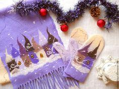 """Купить Шарф и варежки """"Зимняя сказка"""" лавандово-ванильный комплект - варежки валяные, шарф валяный"""