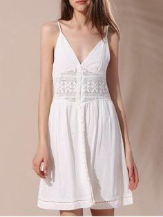 #RoseGal.com - #RoseGal Crochet Insert Button Decorated Cami Dress - AdoreWe.com