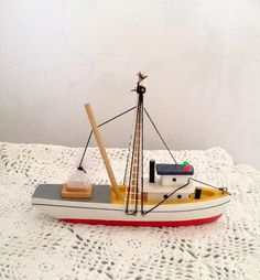 vintage Wood Fishing Boat Painted Red White Gray Yellow Black - White and Black String Rigging - White Net - Cabin with Red and Green Lights