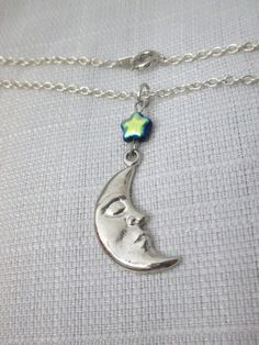 Upcycled Crescent Moon Face and Star Bead by DeadPoetAccessories