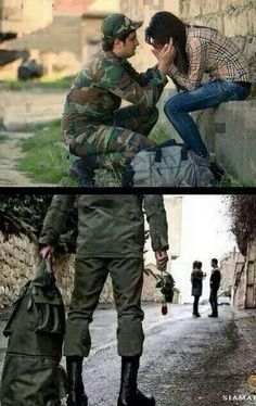 SwEeTo Army Love Quotes, Indian Army Quotes, Army Boyfriend, Military Girlfriend, Soldier Love, Army Soldier, Army Couple Photography, Army Couple Pictures, Cute Baby Couple