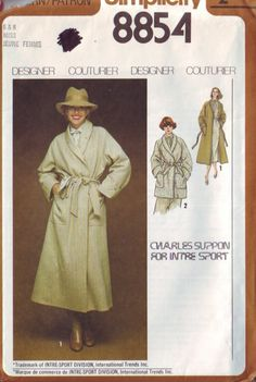 simplicity 8854 vintage 70s designer trench coat by vintagevice, $7.00