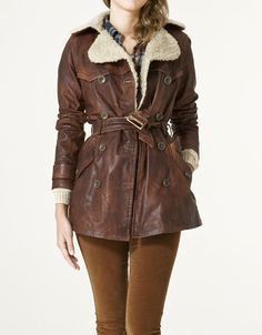 Brown trench with sheepskin collar
