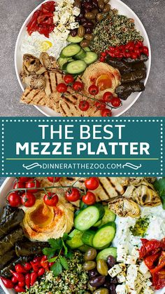 The perfect mezze platter loaded with olives dips salads pita bread and vegetables. Mediterranean Appetizers, Greek Appetizers, Healthy Appetizers, Mediterranean Recipes, Appetizer Recipes, Mediterranean Platters, Healthy Picnic Foods, Dinner Healthy, Dip Recipes