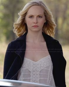 Caroline's white embroidered top and black moto jacket on The Vampire Diaries.  Outfit Details: http://wornontv.net/32630/ #TheVampireDiaries