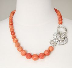 Coral Me Pretty Necklace Earring Set Repurposed from by Prettied, $156.00