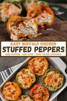 An easy recipe for high protein, low carb stuffed peppers filled with creamy, cheesy buffalo chicken. You can use rotisserie chicken to keep it simple or some of the homemade chicken options provided in the recipe!