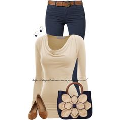 """Casual Navy & Cream"" by stay-at-home-mom on Polyvore"