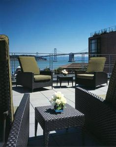 """Is that the Golden Gate Bridge I can see from this sunny terrace?"" It doesn't get much better than that when staying at the Hotel Vitale in San Francisco! Booking.com guest review rating: 9/10."