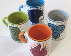 Avatar The Last Airbender Legend of Korra Inspired Bending Symbols  Mug Set 14 oz.