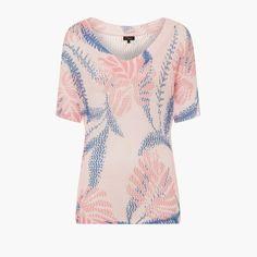 Emreco Open Weave Printed Top Pink