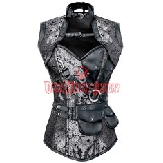 Silver and Black Steampunk Overbust Corset with Belt & Jacket - VG-0021 from Dark Knight Armoury