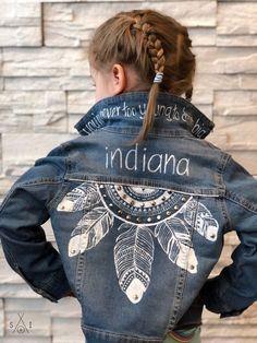 Custom Toddler Denim Jacket: Feathers Scout and Indiana Custom Denim Dreamcatcher Kids Jean Jac Painted Denim Jacket, Painted Jeans, Painted Clothes, Hand Painted, Denim Paint, Diy Jeans, Denim Kunst, Indiana, Diy Clothes