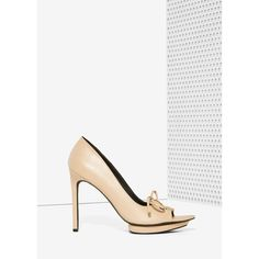 Nasty Gal To Tie For Lace-Up Heel ($88) ❤ liked on Polyvore featuring shoes, pumps, beige, high heel shoes, high heel platform shoes, pointy pumps, beige peep toe pumps and lace up pumps