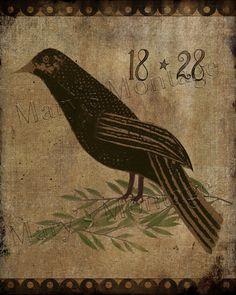 Bird 1828 Primitive Fraktur Style Folk art 8 x 10 by MarysMontage