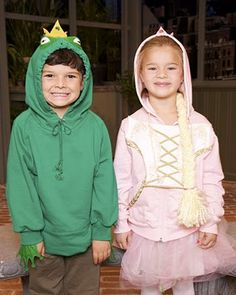 Hoodie Costumes: Frog Prince and Princess The Martha Stewart Show, October Make these adorable frog prince and princess hoodie costumes -- they will be the cutest costumes on the block this Halloween. Candy Costumes, Cute Costumes, Costume Ideas, Sister Costumes, Real Costumes, Woman Costumes, Pirate Costumes, Group Costumes, Adult Costumes