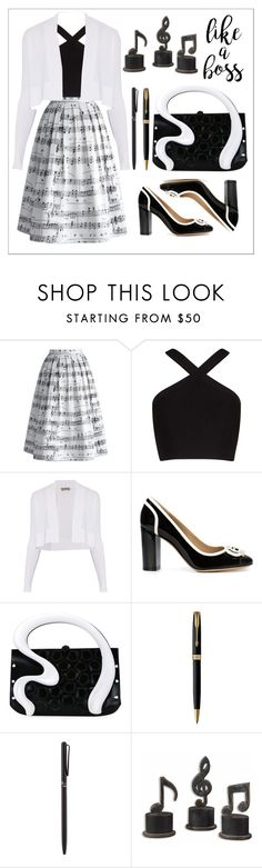 """""""Sing everyday"""" by chanlee-luv ❤ liked on Polyvore featuring Chicwish, BCBGMAXAZRIA, Sportmax, Salvatore Ferragamo, Gabriella Ingram, Parker, Tiffany & Co. and Uttermost"""