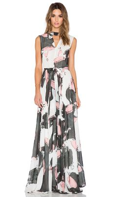 TY-LR The Hall Dress in Brushstroke | Grey, black, pink, white