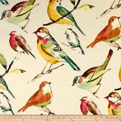 Tempo Birds Natural from @fabricdotcom  Screen-printed on a linen/rayon blend fabric, this versatile medium weight fabric features a slub and is perfect for window treatments (draperies, valances, curtains and swags), toss pillows, duvet covers, pillow shams, slipcovers and upholstery. Colors include brown, turquoise, pink, red, gold, yellow, aqua, tan, green and orange on a natural background.