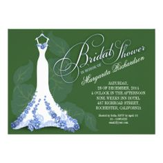 bridal shower invitations with wedding dress