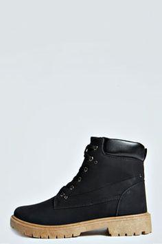 Pheobe Lace Up Chunky Sole Boots at boohoo.com