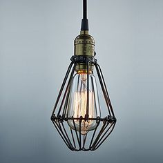 YOBO Lighting Industrial Edison Vintage Opening and Closing Hanging Light Wire Cage Lamp Guard Pendant Light Fixture - - Amazon.com