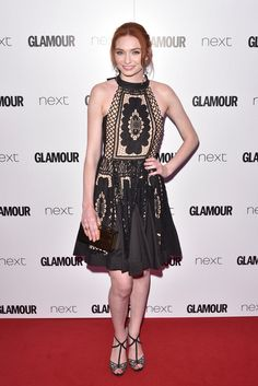 Eleanor Tomlinson is wearing Bora Aksu AW16-17  Black lace dress at Glamour Awards  on 7th June 2016