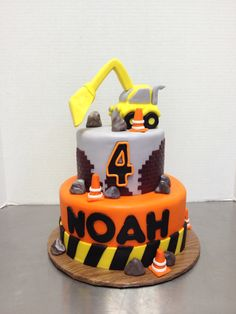Fun construction cake for a boys birthday