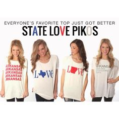 Have you checked out our new 'State Love' Piko tops?! Grab one before they are gone!