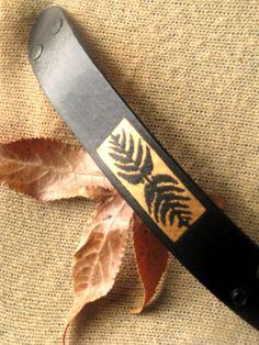 SALE Leather Cuff/ Hand Painted Fern Leaf on Quality by JJsBottega
