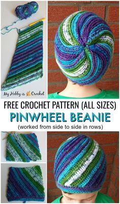 (Faux Knit) Pinwheel Beanie (All sizes) - Free Crochet Pattern + Tutorial This awesome knit-look crochet beanie is worked in rows from side to side making increases on one side and decreases on the other. Bonnet Crochet, Easy Crochet Hat, Cute Crochet, Hand Crochet, Knit Crochet, Doilies Crochet, Knit Cowl, Vintage Crochet, Beanie Pattern Free