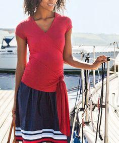 Love this JoJo Maman Bébé Red Side-Tie Maternity & Nursing Wrap Top by JoJo Maman Bébé on #zulily! #zulilyfinds