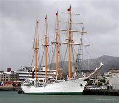 }{   Chilean Navy Training Ship Esmeralda.  Esmeralda (BE-43) is a steel-hulled four-masted barquentine tall ship of the Chilean Navy, currently the second tallest and longest sailing ship in the world.  The ship is the sixth to carry the name Esmeralda.  She was built in Cádiz, Spain, in 1946., earmarked to become Spain's national training ship, but was subsequently sold to Chile in 1951. She was finally launched in 1953.