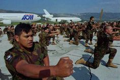 UN soldiers from New Zealand perform Maori tribal dance as they arrive at Split airport Croatia 15/03/95. About 200 soldiers arrived in Spli...