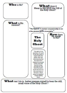 The Holy Ghost - Worksheet* Idea: Give the worksheet and have them fill it out and then share their thoughts. Young Women Lessons, Lessons For Kids, Bible Lessons, Activity Day Girls, Activity Days, Holy Spirit Lesson, Baptism Talk, Teaching Religion, Primary Activities