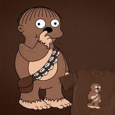 I Bent My Wookie t-shirt (Simpsons kid as Chewbacca picking his nose) http://www.365daysofclones.com/2012/07/10/i-bent-my-wookie-nowhere-bad/ #StarWars #Chewbacca #Simpsons #funny #weird