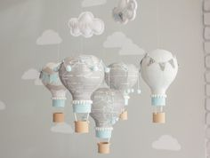 This is a custom hot air balloon mobile. The fabric is an old world map in a light grey with specific locations included on the balloons. The