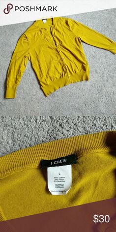J. Crew Mustard Yellow Cardigan Perfect condition So soft Runs small- tag says large J. Crew Sweaters Cardigans