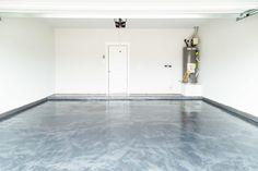 garage with epoxy floor coating Concrete Floor Coatings, Garage Floor Coatings, Concrete Garages, Epoxy Floor, Concrete Floors, Rustoleum Garage Floor Epoxy, Garage Floor Tiles, Garage Interior, Painted Floors