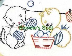 Vogart 199 Kittens for Childrens Towels, pillow cases or quilt tops. A hand embroidery pattern. Cute Embroidery, Hand Embroidery Designs, Vintage Embroidery, Embroidery Patterns, Embroidered Quilts, Embroidery Transfers, Baby Quilts, Needlework, Cross Stitch