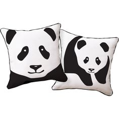 Naked Decor Black-And-White Giant Panda Animal Pillow ($50) ❤ liked on Polyvore featuring home, home decor, throw pillows, wildlife home decor, canvas home decor, black and white home accessories, black and white accent pillows and black and white home decor