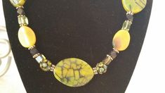Semi-Precious Stones Necklace Olive Dragon by HappyMemoriesVintage