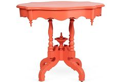 Coral-Hued Victorian-Era Table, I have a table I could do this to. Table Furniture, Cool Furniture, Painted Furniture, End Tables, A Table, Josi, Orange Interior, Oriental Furniture, Love Your Home