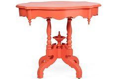 Coral-Hued Victorian-Era Table