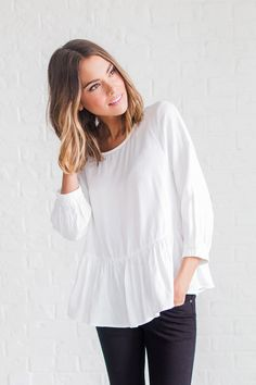 Street Style // Chic // Fashion // Trends // Tie Back Peplum in White // Clad & Cloth Apparel Casual Outfits, Cute Outfits, Fashion Outfits, Fashion Trends, Spring Summer Fashion, Spring Outfits, Spring Wear, Clad And Cloth, Couture